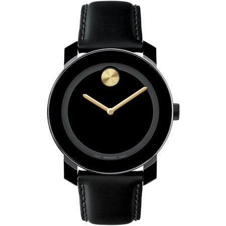 Movado Watch, Swiss Bold Large Crystal Accent Black Leather Strap 3600044 - All Watches - Jewelry & Watches - Macy's