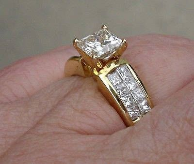 74564deba44ed 1.5 Carat Princess Cut Diamond Engagement Ring with Wide Band - 18K ...