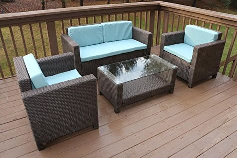 Patio Furniture Sets Oliver Smith Large 4 Pc Modern Rattan Wiker