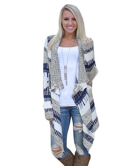 YouPue Irregolare Cardigan Jacket Manica Donne Lunga Maglia Maglione Striscia Jacquard Sciolto Casual Tops Sweatshirt Autunno Inverno S