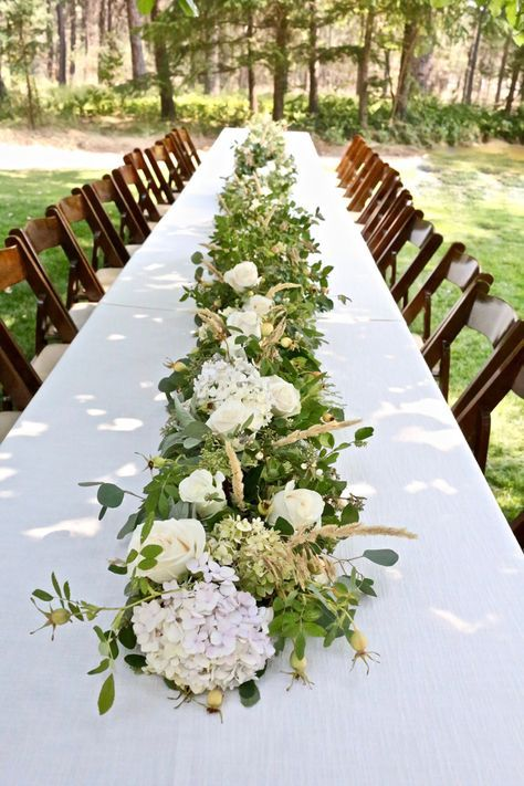 How To Make A Floral Table Runner Centerpiece The Farm Chicks Floral Table Runners Wedding Floral Table Runner Table Flower Arrangements
