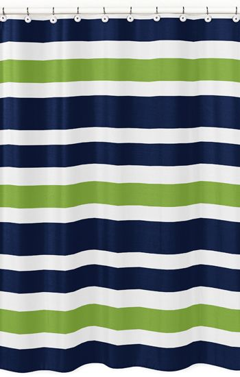 Lime Stripe Bathroom Fabric Bath Shower
