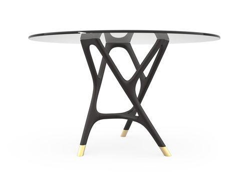 Tavolo Rotondo Vetro Design.Tavolo Rotondo Joyce In Legno Di Frassino Con Piano In Vetro E