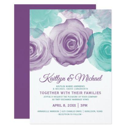 Watercolor Wedding Invitation Purple Teal Invitations Custom