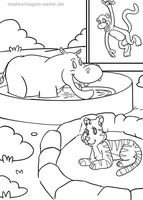 ausmalbild im zoo | kinder ausmalbilder