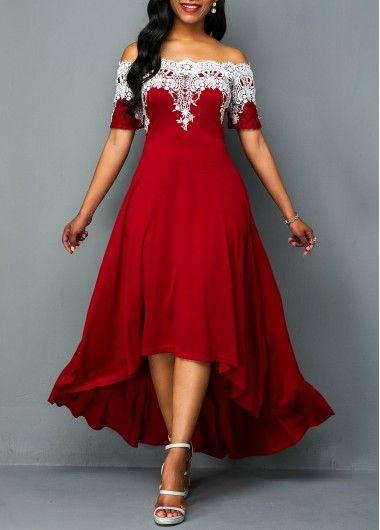 Lace Patchwork Off the Shoulder Maxi Dress