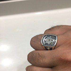 Knights Templar Masonic Ring in Sterling Silver ~ Cigar Band