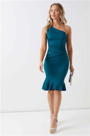 buy sale cost charm special sales Lipsy One Shoulder Satin Panel Flute Hem Bodycon Dress | Vestidos ...