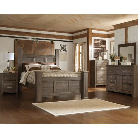 Rustic Modern Driftwood 4 Piece King Bedroom Set Fairfax House