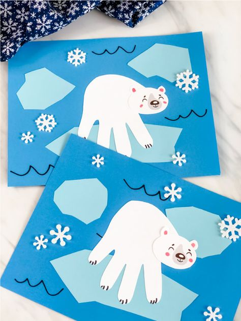 Polar Bear Handprint Craft #bricolagedenoelmaternelle Make this cute and easy polar bear handprint craft with the kids this winter! It's a fun arctic animal craft that comes with a free printable template.