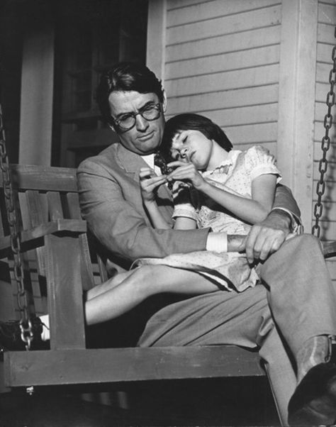 Mary Badham and Gregory Peck on the set of To Kill a Mockingbird (1962). The two kept in touch after filming, and shecontinuedto call him Atticus until the day he died.