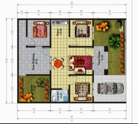 5 Contoh Gambar Denah Rumah Minimalis 3 Kamar Tidur Type 36 Nyaman Fungsional Home Design Plans Home Decor House Design