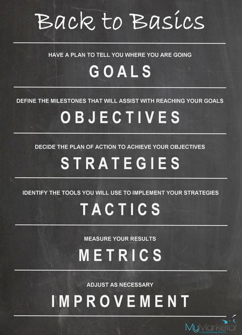 Back to Basics :: Marketing Goals, Objectives, Strategies and Tactics - MyMarketor
