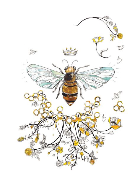 Queen Bee Art Print by Sarah Clement - X-Small Honey Bee Tattoo, Bumble Bee Tattoo, Queen Bee Tattoo, Drone Bee, Bee Drawing, Bee Painting, Black Cat Tattoos, Vine Tattoos, Bee Illustration