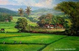 Lukisan Pemandangan Alam Desa Saferbrowser Yahoo Hasil Image