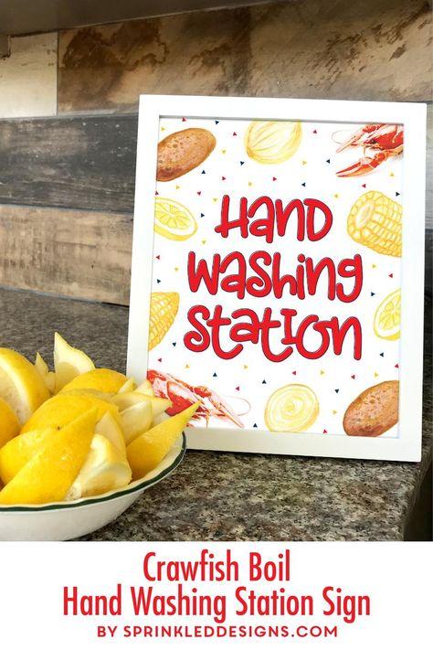 Crawfish Boil Decorations, Hand Washing Station Sign, Crawfish Decor, Kids Birthday Crawfish Boil De
