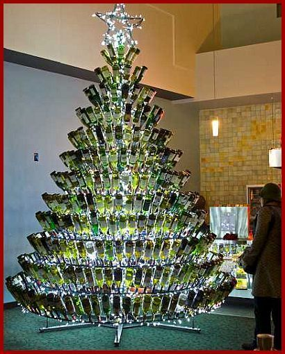 Does It Have To Be An Actual Tree Or Can It Be Made Out Of Bottles Wine Bottle Christmas Tree Christmas Wine Bottles Wine Bottle Crafts Christmas