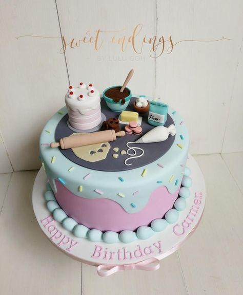A Perfect Baker's Cake – Kuchen von Lulu Goh – blanche Birthday Cake For Mom, Themed Birthday Cakes, Themed Cakes, Baking Birthday Parties, Baking Party, Cake Decorating Videos, Birthday Cake Decorating, Fondant Cakes, Cupcake Cakes
