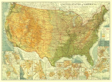 Usa The United States 1923 National Geographic Maps