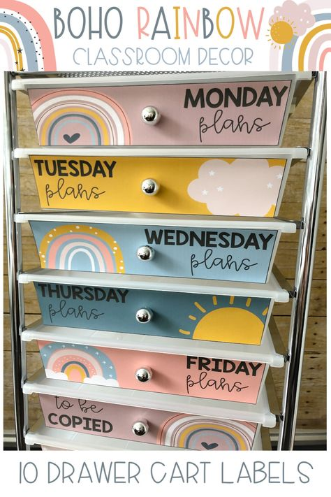 Organize your classroom 10 drawer cart with these cheerful Boho Rainbow drawer labels! Includes 2 design styles and editable versions so you can customize them to meet your classroom organization needs! Preschool Classroom Decor, Classroom Board, 3rd Grade Classroom, Classroom Design, Kindergarten Classroom, Classroom Themes, Future Classroom, Classroom Labels, Classroom Organisation