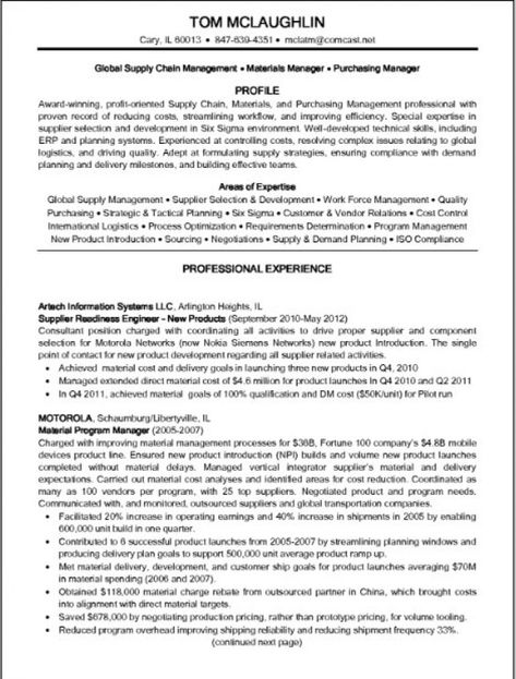 Supply Chain Manager Resume Resume \/ Job Pinterest Supply - material control specialist sample resume