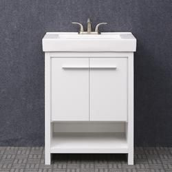 Dolphin Plumbing 24 W X 14 D White Verona Vanity And White Vanity Top With Integrated Sink And Mirror White Vanity Bathroom White Vanity Vanity