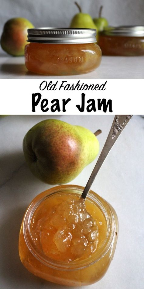 Old Fashioned Pear Jam Recipe ~ A simple old time recipe for homemade pear preserves with no added pectin. All you need is a bit of sugar and lemon to put up the pear harvest with the luscious pear spread. Pear Preserves, Canned Pears, Pyrus, Jam And Jelly, Vegetable Drinks, Canning Recipes, Canning Tips, Kefir, Harvest