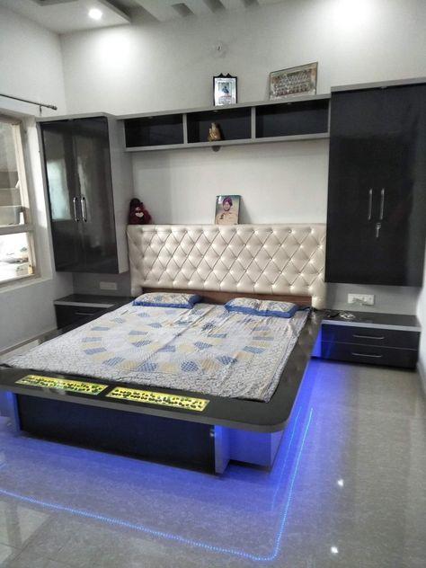Wall Hung Bed With Upholstered Back Rest And Wooden Paneling Bedroom Bed Design Modern Bedroom Design Bed Design