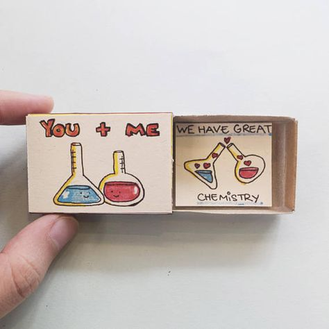 Witty Valentine Matchbox Card This listing is for one matchbox. This is a great alternative to a traditional greeting card. Surprise your loved ones with a cute private message hidden in these beautifully decorated matchboxes! Each item is hand made from a real matchbox. The designs are