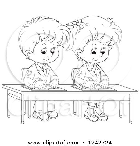 Writing In School Clipart Black White Inside Children Writing