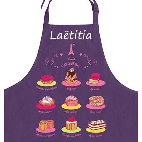 Tablier De Cuisine Personnalise Patisserie Violet Tablier