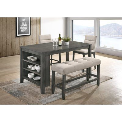 Derrick 4 Piece Counter Height Dining Set Counter Height Dining Sets Dining Set Counter Height Dining Table
