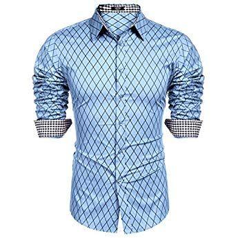 Burlady Herren Hemd Slim Fit Diamant Gitter Karohemd Kariert Langarmshirt Freizeit Business Party Shirt Fur Manner Herren Hemden Slim Fit Hemd Herrenhemd