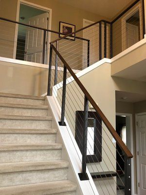 Adalia Cable Railing Modern Cable Railing System With Painted | Modern Cable Stair Railing | Entry Foyer | Staircase Remodel | Stair Treads | Glass Railing | Deck Railing