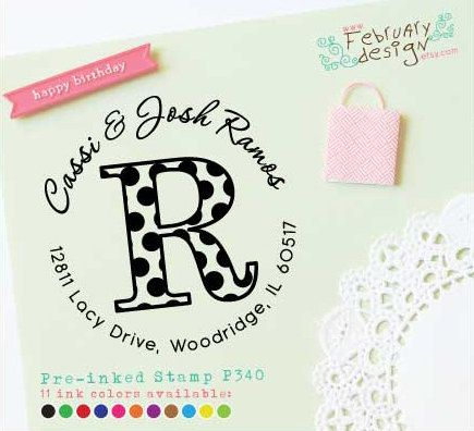 polka dots initial stamp self inking address stamp pre inked