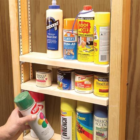 Garage Corner Shelves. Use scrap plywood or oriented strand board to ...