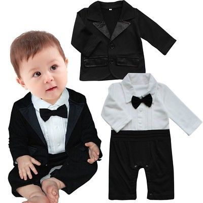Baby Boy Wedding Christening Formal Bow Smart Short Summer Suit Outfit Tuxedo
