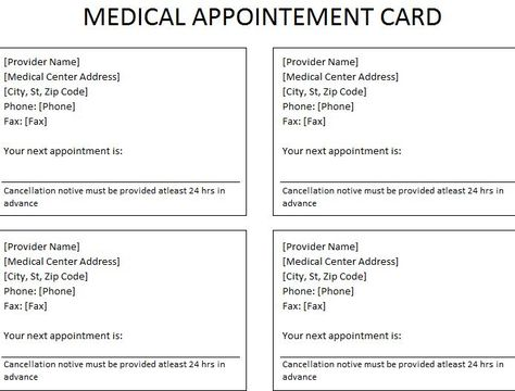 Medical Appointment Card Appointment Cards Free Medical