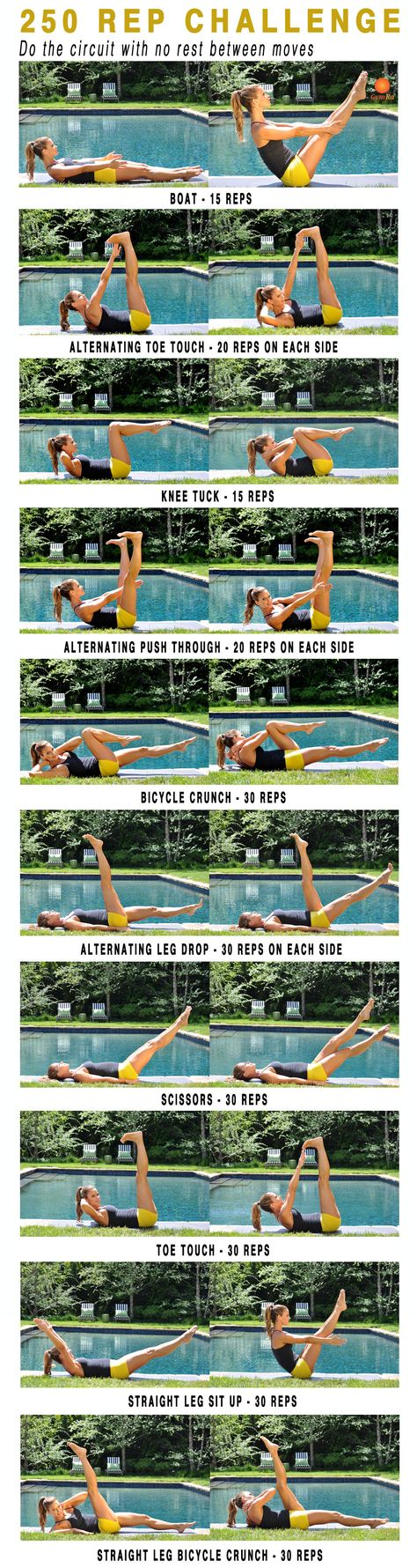 250 rep challenge! Trim, tuck, and tone your #abs.