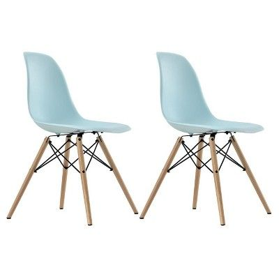 Mid Century Modern Molded Chair With Wood Leg Set Of 2 Light