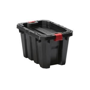 Husky 5 Gal Latch And Stack Tote In Black 206129 Latches Tote Storage Storage Totes