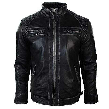 Men/'s Vintage Biker Style Motorcycle Rub Off Distressed Black Leather Jacket