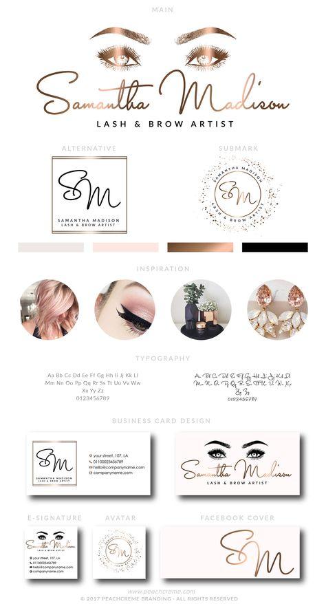 Rose Gold Foil Lash Logo Design, Make up Artist Branding Set, Brow Logo Design, Boutique Logo, Makeup Marketing Kit, Lash Beauty Boutique by PeachCreme on Etsy