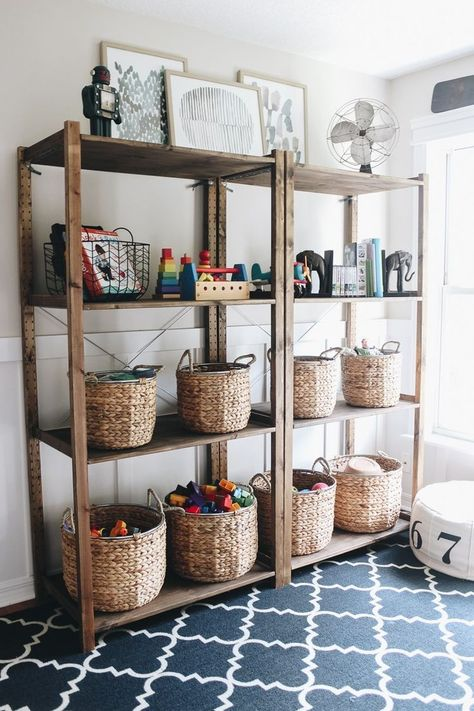 Organizing Playroom Toys - Within the Grove - Organizing Playroom Toys Playroom Design, Playroom Decor, Playroom Ideas, Playroom Shelves, Ikea Shelves, Kids Playroom Storage, Living Room Playroom, Childrens Toy Storage, White Shelves