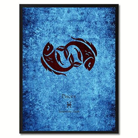 16×16 Pisces Zodiac Grunge Stretched Canvas – Classic Poster Collector