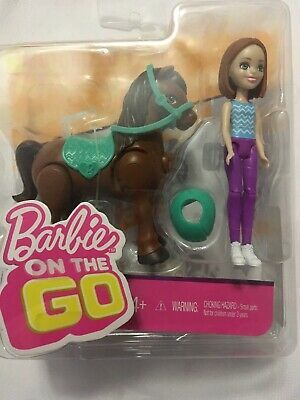 Mattel Barbie On The Go Outfit Motorized Brown Pony With Green Saddle and Reins