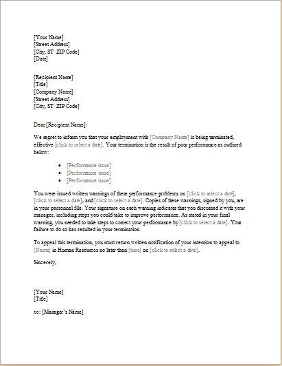 sample warning letter poor work performance cover templates - employee termination letter template