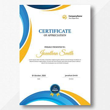 شهادة عمودي برتقالي و أزرق Certificate Design Certificate Templates Certificate Design Template