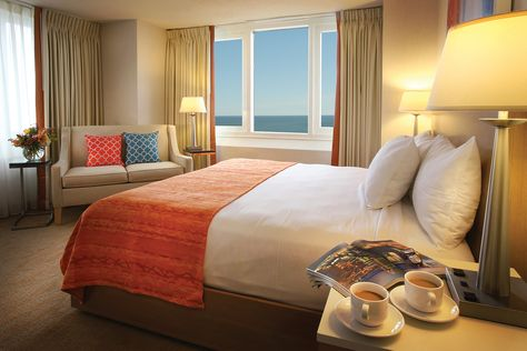 One Of Our Beautifully Renovated North Tower Hotel Rooms With A Breathtaking Ocean Vi Atlantic City Boardwalk Hotels Atlantic City Hotels Atlantic City Resorts