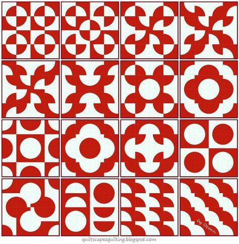 Drunkard's Path Block Layout Options  see Circle Ruler video at http://youtu.be/h8JyeWd1Pj4